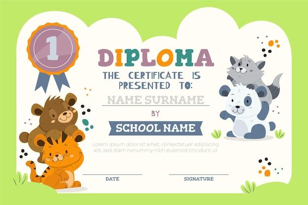Modello di diploma per bambini con animali