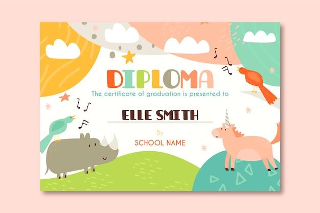Modello di diploma per bambini con cartoni animati di animali