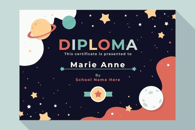 Modello di diploma per bambini con universo