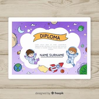 Modello di diploma per bambini galaxy