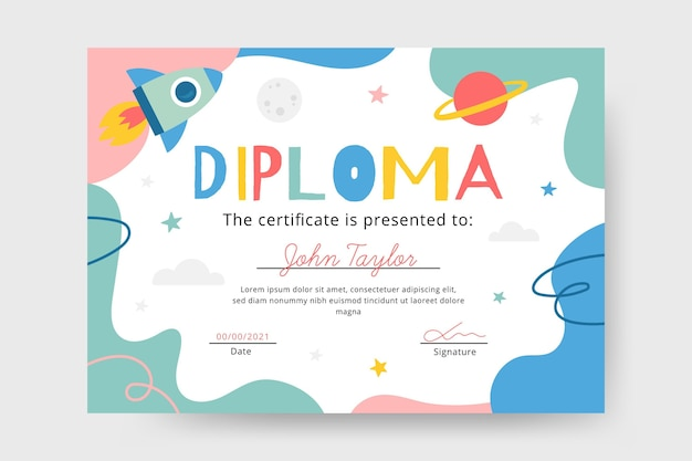 Modello di diploma per il concetto di bambini