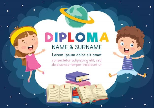 Modello di diploma per l'educazione dei bambini