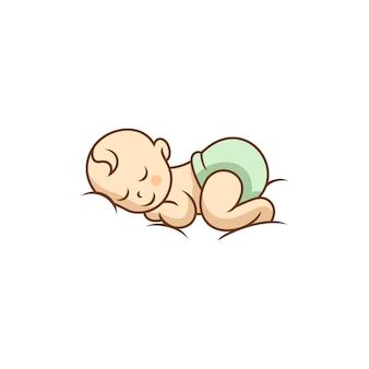 Modello di disegni di bambino sveglio che dorme logo