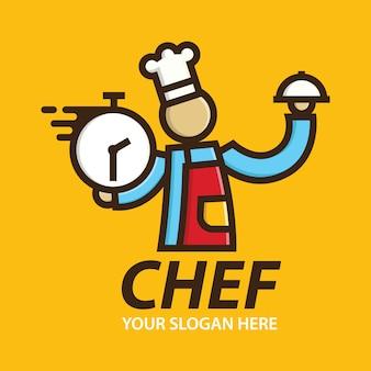 Modello di disegni di consegna logo chef veloce