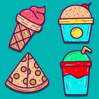 Modello di disegni di doodle del fumetto dell'alimento
