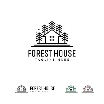 Modello di disegni logo forest house, modello logo green house