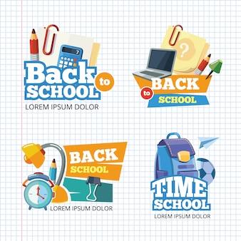 Modello di disegno con set di emblemi di scuola.
