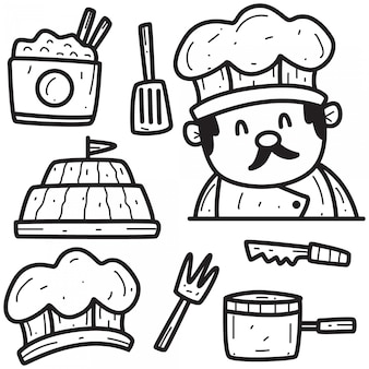 Modello di disegno del cuoco unico doodle disegnato a mano del fumetto