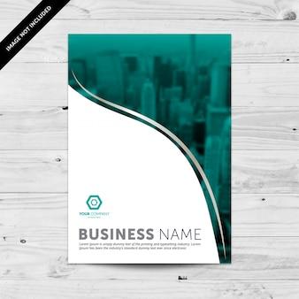 Modello di disegno del flyer di affari con il cityline blu del teal