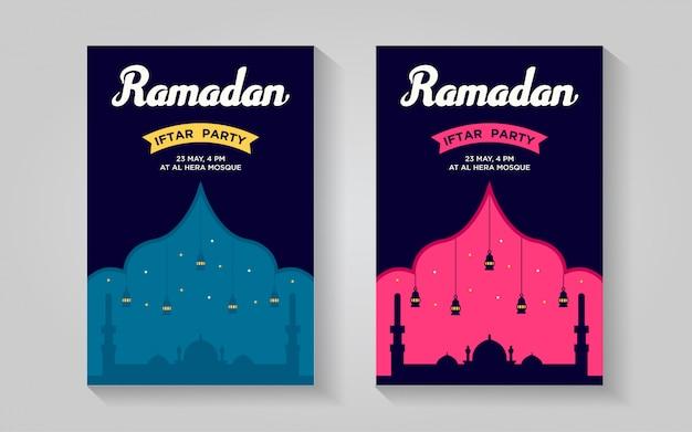 Modello di disegno del manifesto del partito iftar colorato di ramadan