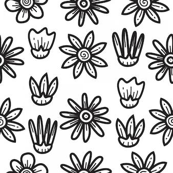 Modello di disegno del modello di fiore di doodle