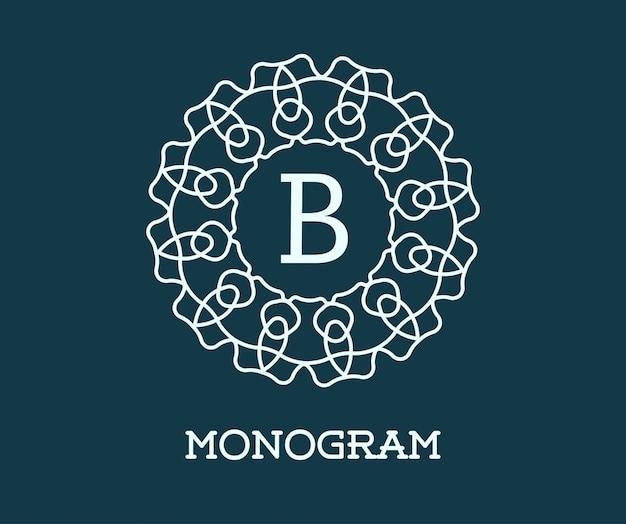 Modello di disegno del monogramma con illustrazione di lettera
