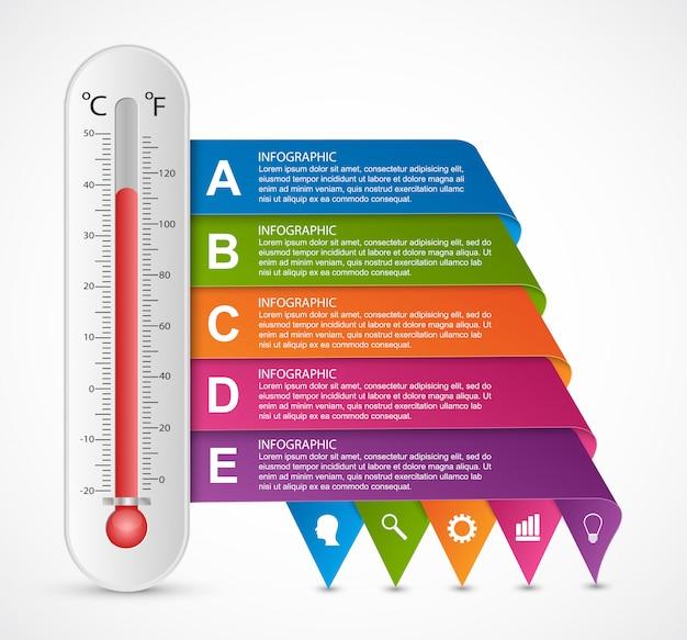Modello di disegno del termometro di infografica.