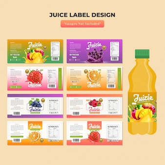 Modello di disegno dell'etichetta della bottiglia di succo
