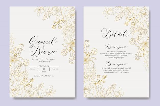 Modello di disegno dell'invito di nozze floreale disegnato a mano