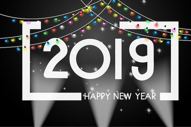 Modello di disegno della copertura del nuovo anno 2019 della cartolina d'auguri.