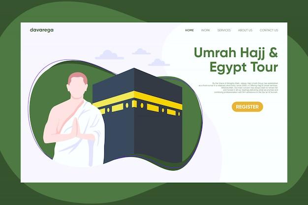 Modello di disegno della pagina di atterraggio di umroh hajj