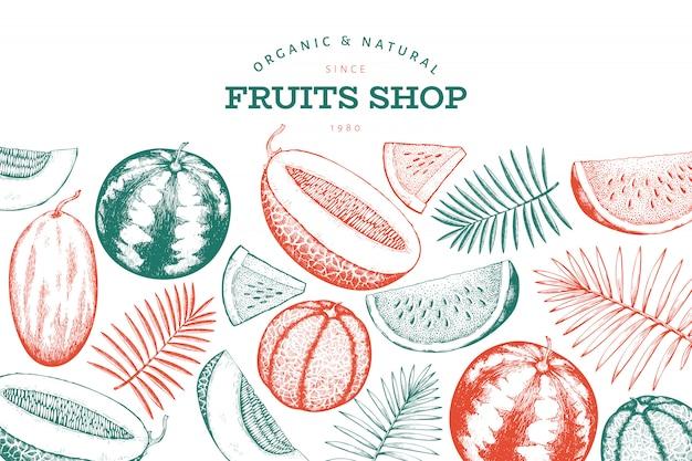 Modello di disegno di anguria, melone e foglie tropicali.