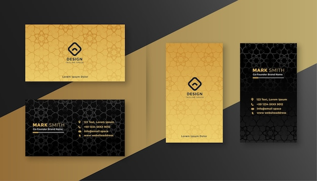 Modello di disegno di biglietto da visita di lusso royal nero e oro