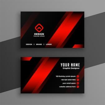 Modello di disegno di biglietto da visita geometrico rosso e nero