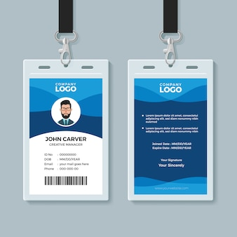 Modello di disegno di carta d'identità blu wave