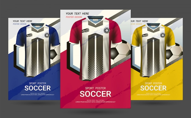 Modello di disegno di copertina flyer e poster con divisa in jersey di calcio.