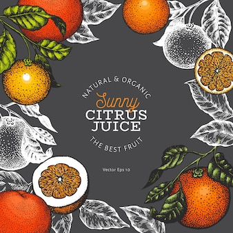 Modello di disegno di frutta arancione.