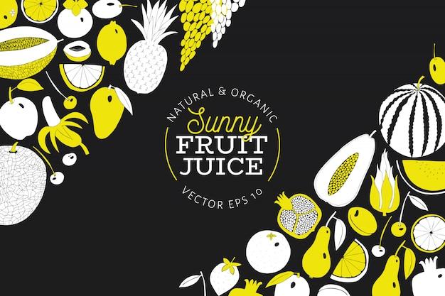 Modello di disegno di frutta disegnata a mano scandinavo.