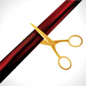 Modello di disegno di grande apertura con nastro e forbici. concetto aperto grande del taglio del nastro isolato.