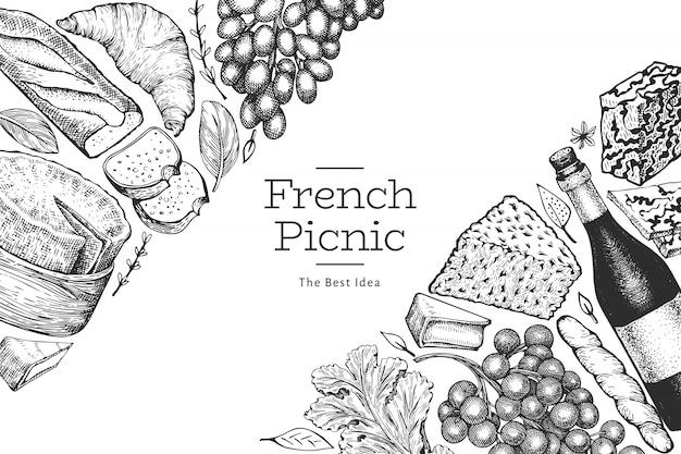 Modello di disegno di illustrazione di cibo francese. illustrazioni di pasto picnic di vettore disegnato a mano. banner di snack e vino diversi in stile inciso. sfondo di cibo vintage.