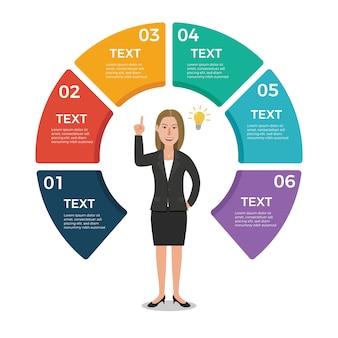 Modello di disegno di infographic di affari con la donna di affari
