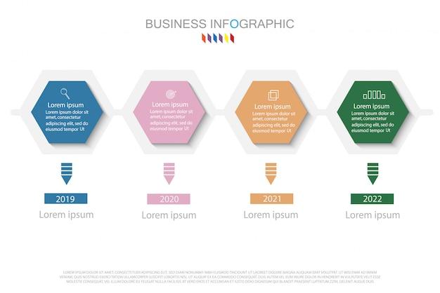 Modello di disegno di infographics di affari. timeline con 4 punti