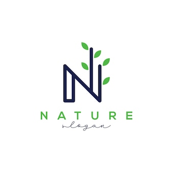 Modello di disegno di logo di lettera n per natura