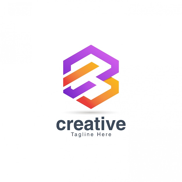 Modello di disegno di marchio creativo vibrante lettera b.