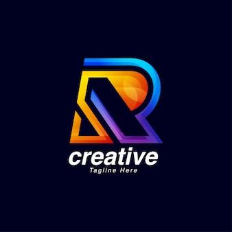 Modello di disegno di marchio creativo vibrante lettera r