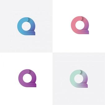Modello di disegno di marchio della lettera q con stile differente