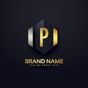 Modello di disegno di marchio di marchio della lettera di p