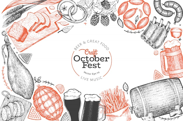Modello di disegno di octoberfest. illustrazioni disegnate a mano di vettore saluto la carta del festival della birra in stile retrò.