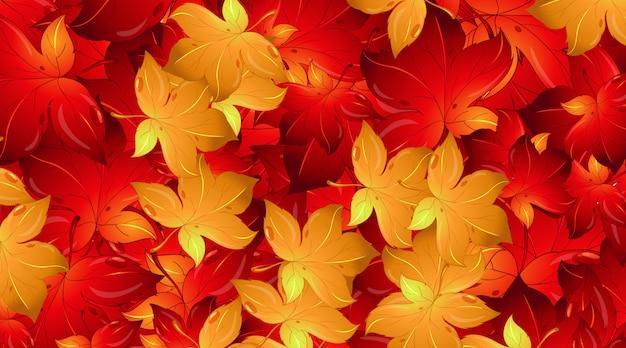Modello di disegno di sfondo con foglie rosse