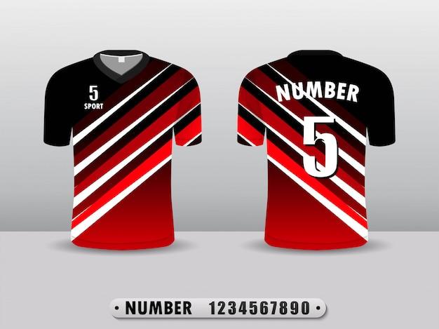 Modello di disegno di sport t-shirt calcio rosso club.