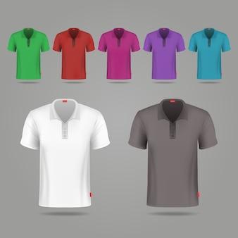 Modello di disegno di t-shirt vettore maschio nero, bianco e colore. set di t-shirt colorate per lo sport, illust