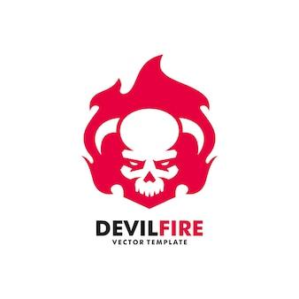 Modello di disegno di vettore dell'illustrazione del fuoco del diavolo