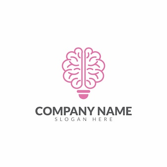 Modello di disegno di vettore di logo di cervello e lampadina