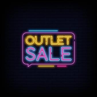Modello di disegno di vettore di testo al neon di vendita outlet. banner al neon di sconto