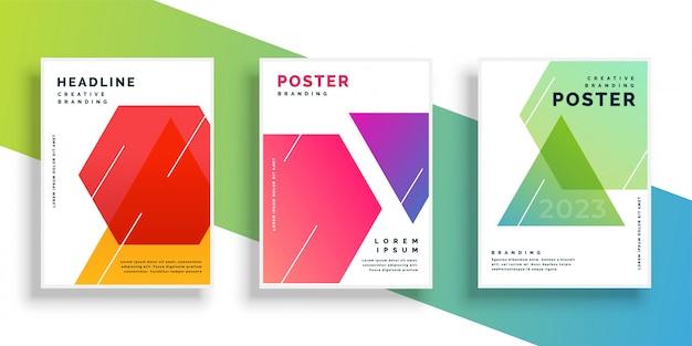 Modello di disegno geometrico colorato flyer