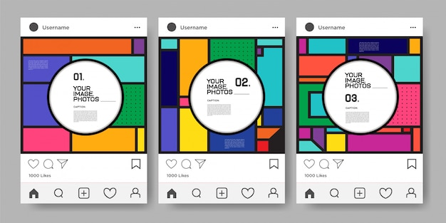 Modello di disegno geometrico colorato vettoriale per feed instagram