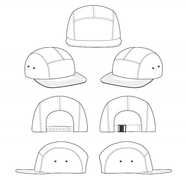 Modello di disegno tecnico di camp cap fashion flat