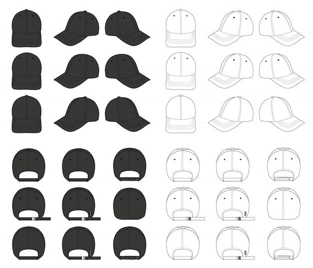 Modello di disegno tecnico piatto berretto da baseball moda