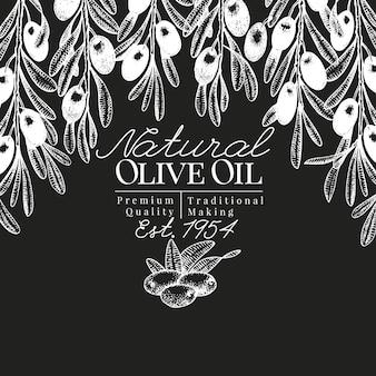 Modello di disegno verde oliva disegnato a mano. illustrazioni di olive di vettore sul bordo di gesso.