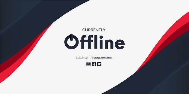 Modello di disegno vettoriale di banner twitch attualmente offline